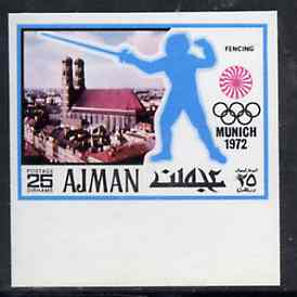 Ajman 1971 Fencing 25dh from Munich Olympics imperf set of 20, Mi 737B unmounted mint