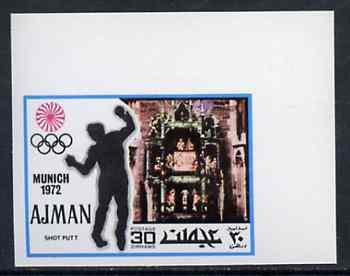Ajman 1971 Shot Putt 30dh from Munich Olympics imperf set of 20, Mi 738B unmounted mint
