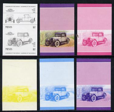 Nevis 1985 $2 Pontiac 2-door (1926) set of 6 imperf progressive colour proofs in se-tenant pairs comprising the 4 basic colours plus blue & magenta and blue, magenta & yellow composites (6 pairs as SG 336a) unmounted mint