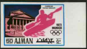 Ajman 1971 Canoeing 50dh from Munich Olympics imperf set of 20 unmounted mint, Mi 741B