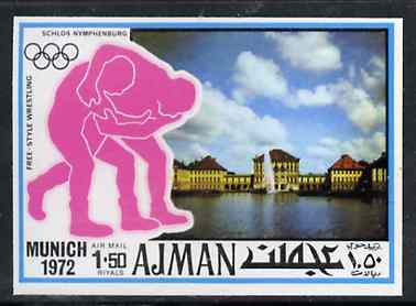 Ajman 1971 Wrestling 1R50 from Munich Olympics imperf set of 20 unmounted mint, Mi 743B