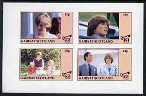 Gairsay 1982 Princess Di's 21st Birthday imperf sheetlet containing complete set of 4 values (12p to 44p) unmounted mint