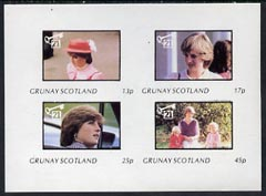 Grunay 1982 Princess Di's 21st Birthday imperf sheetlet containing complete set of 4 values (13p to 45p) unmounted mint