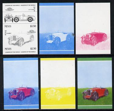 Nevis 1985 $2.50 MG Midget (1930) set of 6 imperf progressive colour proofs in se-tenant pairs comprising the 4 basic colours plus blue & magenta and blue, magenta & yellow composites (6 pairs as SG 261a) unmounted mint