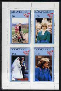 Iso - Sweden 1982 Princess Di's 21st Birthday perf sheetlet containing complete set of 4 values (50 to 500) unmounted mint