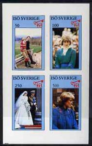 Iso - Sweden 1982 Princess Di's 21st Birthday imperf sheetlet containing complete set of 4 values (50 to 500) unmounted mint
