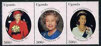 Uganda 1996 The Queen's 70th Birthday set of 3, SG 1687-89