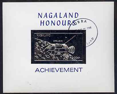 Nagaland 1972 Apollo 15 2ch value embossed in silver on glossy card with first day cancellation (imperf)