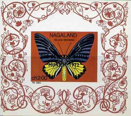 Nagaland 1971 Butterfly (Helena Birdwing) imperf Miniature sheet (2ch value) opt'd PRE-OLYMPIC GAMES, MUNICH 1972 unmounted mint