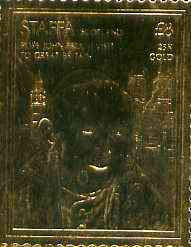 Staffa 1982 ? Pope John Paul II Visit to Britain \A38 embossed in 23k gold foil unmounted mint