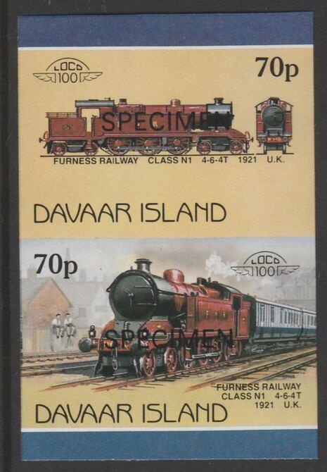 Davaar Island 1983 Locomotives #1 Furness Railway Class N1 4-6-4T loco 70p imperf se-tenant pair overprinted SPECIMEN unmounted mint