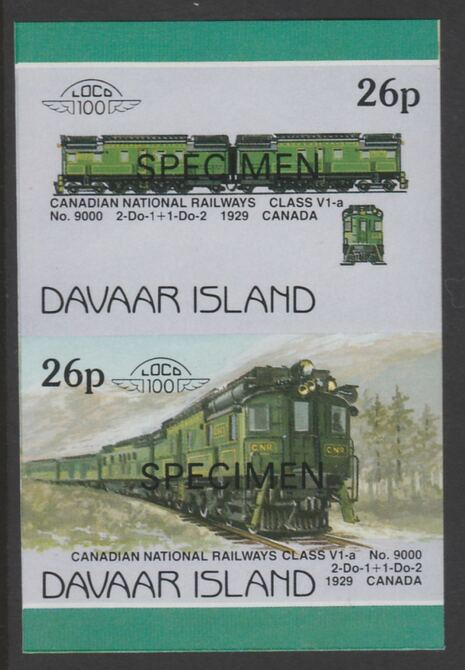 Davaar Island 1983 Locomotives #1 Canadian National Class V1-a loco No.9000 26p imperf se-tenant pair overprinted SPECIMEN unmounted mint