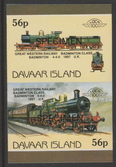 Davaar Island 1983 Locomotives #1 GWR Badminton Class 4-4-0 loco 56p imperf se-tenant pair overprinted SPECIMEN unmounted mint