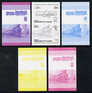 St Vincent - Bequia 1985 Locomotives #3 (Leaders of the World) 25c (0-8-0 Class G2) set of 5 imperf progressive colour proofs in se-tenant pairs comprising the 4 basic colours plus 2-colour composite (5 pairs) unmounted mint