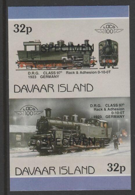 Davaar Island 1983 Locomotives #1 DRG Class 97 0-10-0 loco 32p imperf se-tenant pair overprinted SPECIMEN unmounted mint