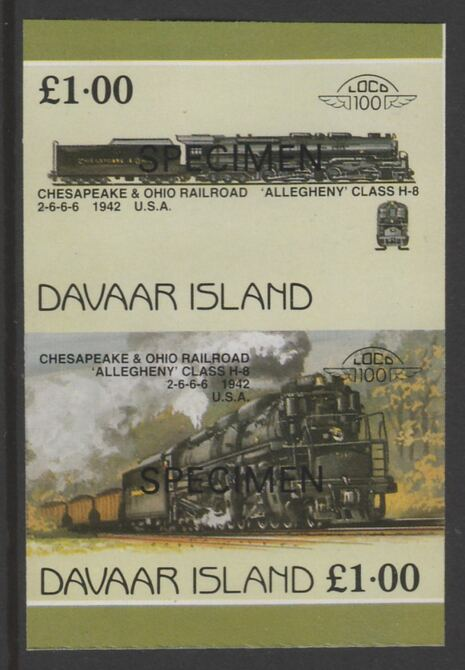 Davaar Island 1983 Locomotives #1 Chesapeake & Ohio Class H8 2-6-6-6 loco \A31 imperf se-tenant pair overprinted SPECIMEN unmounted mint