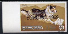 Stroma 1971 Dogs 15p on 1s3d (Collie) imperf single overprinted