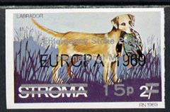 Stroma 1971 Dogs 15p on 2s (Labrador) imperf single overprinted