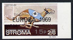 Stroma 1971 Dogs 15p on 2s6d (Greyhound) imperf single overprinted