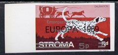 Stroma 1971 Dogs 5p on 5d (Dalmation) imperf single overprinted