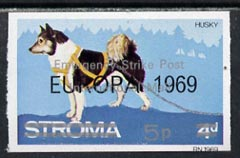 Stroma 1971 Dogs 5p on 4d (Husky) imperf single overprinted