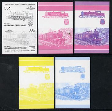 St Vincent - Bequia 55c Stephenson (4-6-4T) set of 5 imperf progressive colour proofs in se-tenant pairs comprising the 4 basic colours plus 2-colour composite (5 pairs) unmounted mint