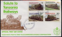 Tanzania 1985 Locomotives perf set of 4 with 'Caribbean Royal Visit 1985' opt in gold on cover with first day cancel