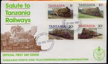 Tanzania 1985 Locomotives imperf set of 4 with 'Caribbean Royal Visit 1985' opt in gold on cover with first day cancel