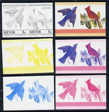 Nevis 1985 Bluebird & Cardinal (John Audubon 5c) set of 6 imperf progressive colour proofs in se-tenant pairs comprising the 4 basic colours plus magenta & blue and magenta, blue & yellow composites (as SG 269a) unmounted mint