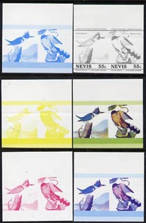 Nevis 1985 Kingfisher & Cuckoo (John Audubon 55c) set of 6 imperf progressive colour proofs in se-tenant pairs comprising the 4 basic colours plus magenta & blue and magenta, blue & yellow composites (as SG 271a) unmounted mint