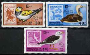 Mongolia 1978 Birds the 3 values from Capex '78' Stamp Exhibition set of 7 unmounted mint, SG 1139-40 & 1144*