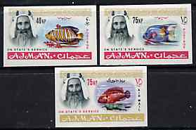 Ajman 1965 Fish imperf set of 3 from 'Official' set unmounted mint SG O65, 67 & 69var