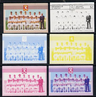 St Vincent - Grenadines 1985 Cricketers #3 - $2 Kent Team - set of 6 imperf progressive colour proofs comprising the 4 basic colours plus blue & magenta and blue, magenta & yellow composites unmounted mint as SG 368