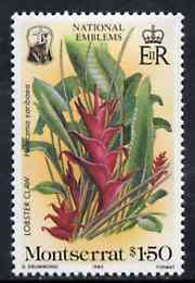 Montserrat 1985 Lobster Claw $1.50 from National Emblems Flora & Fauna set unmounted mint, SG 629*