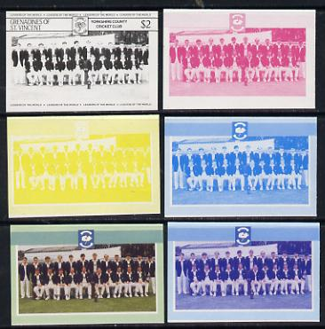 St Vincent - Grenadines 1985 Cricketers #3 - $2 Yorkshire Team - set of 6 imperf progressive colour proofs comprising the 4 basic colours plus blue & magenta and blue, magenta & yellow composites unmounted mint (as SG 369)