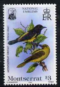 Montserrat 1985 Oriole $3 from National Emblems Flora & Fauna set unmounted mint, SG 630*