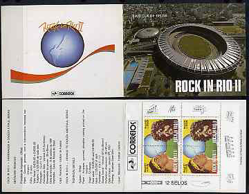 Booklet - Brazil 1991 'Rock in Rio' booklet containing pane of six se-tenant pairs SG 2463-64