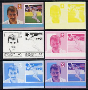 St Vincent - Grenadines 1985 Cricketers #3 - 60c L Potter - set of 6 imperf progressive colour proofs in se-tenant pairs comprising the 4 basic colours plus blue & magenta and blue, magenta & yellow composites unmounted mint (as SG 366a)
