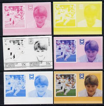 St Vincent - Grenadines 1985 Cricketers #3 - 55c M D Moxon - set of 6 imperf progressive colour proofs in se-tenant pairs comprising the 4 basic colours plus blue & magenta and blue, magenta & yellow composites unmounted mint (as SG 364a)