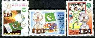 Pakistan 1992 Victory in World Cup Cricket set of 3 unmounted mint, SG 861-63