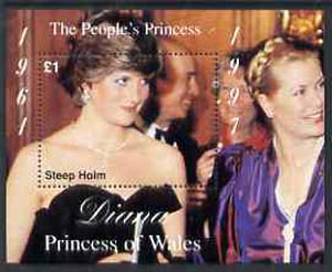 Steep Holm 1997 Diana, The People's Princess perf souvenir sheet #1 (�1 value Attending a Function) unmounted mint