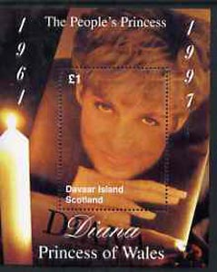 Davaar Island 1997 Diana, The People's Princess perf souvenir sheet (�1 value showing candle-lit picture) unmounted mint
