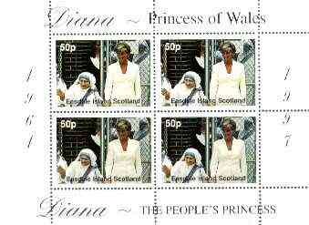 Easdale 1997 Diana, The People's Princess perf sheetlet containing 4 x 50p values (Diana with Mother Teresa) unmounted mint