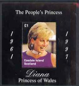 Easdale 1997 Diana, The People's Princess perf souvenir sheet #2 (�1 value Portrait with black background) unmounted mint
