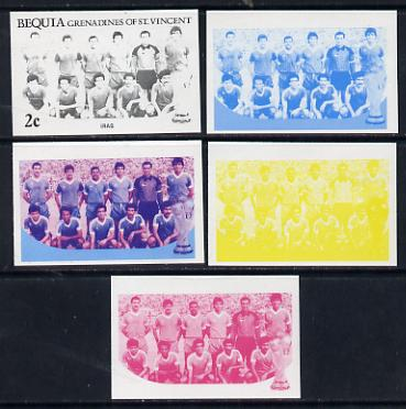 St Vincent - Bequia 1986 World Cup Football 2c (Iraqi Team) set of 5 imperf progressive colour proofs comprising the 4 basic colours plus blue & magenta composite unmounted mint