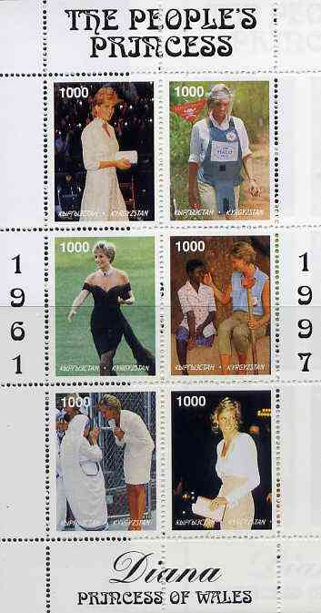 Kyrgyzstan 1997 Diana, The People's Princess perf sheetlet containing set of 6 values (designs incl Working with Red Cross, Land Mine Victims & Mother Teresa) unmounted mint