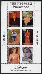 Turkmenistan 1997 Diana, The People's Princess perf sheetlet containing set of 6 values (designs incl Working with Red Cross and various portraits) unmounted mint