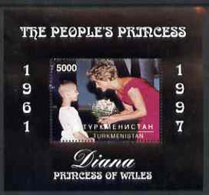 Turkmenistan 1997 Diana, The People's Princess perf souvenir sheet #2 (Portrait with black frame) unmounted mint