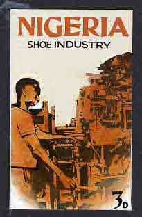 Nigeria - Original artwork probably intended for the 1961 definitive series - showing Shoe Industry (3d value) by unknown artist in black ink with orange wash,  5 x 8 mou...