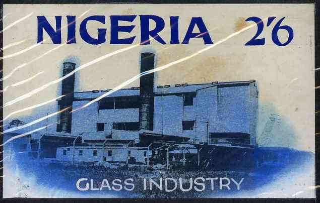 Nigeria - Original artwork probably intended for the 1961 definitive series - showing Glass Industry (2s6d value) by unknown artist in black ink with blue wash,  8 x 5 mo...